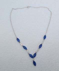 Silver Sterling Lapis Lazuli Y Necklace by Framarines on Etsy