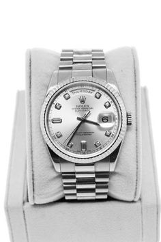 Rolex Day Date WG Presidential 118239 Diamond Dial Gents Watch Company Rolex Model President Item # 118239 Case Material White Gold Case Diameter 36 mm Bezel White Gold with Diamond Mar… Dream Watches, Luxury Watches, Cool Watches, Watches For Men, Prime Watches, Gents Watches, Rolex Watches, Rolex Day Date, Fashion Watches