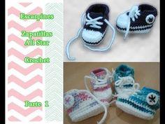 Como hacer escarpines Zapatillas All Star a crochet (muy fácil y rapido)...