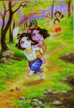 Balaram gives his baby brother a ride - Krishna Hare Krishna, Krishna Lila, Little Krishna, Lord Krishna Images, Radha Krishna Pictures, Radha Krishna Photo, Krishna Art, Radhe Krishna Wallpapers, Lord Krishna Wallpapers