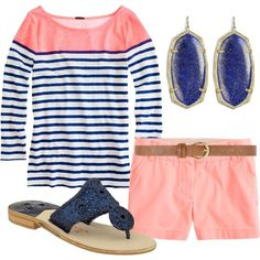 love the color of the shorts with navy...super cute summer outfit!