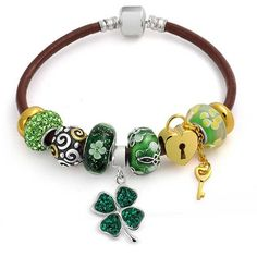 Bling Jewelry Bling Jewelry Sterling Silver Flower Green Clover Glass... (£73) ❤ liked on Polyvore featuring jewelry, bracelets, green, enamel charms, bracelet bead charms, sterling silver enamel charms, bead charm bracelet and two tone charm bracelet