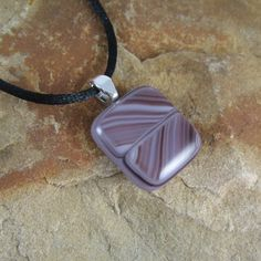 Purple Fused Glass Pendant with Stripes ~ One-of-a-Kind Purple Necklace for Her by KilnKarma ~~ Click here to BUY this today ~ More great jewelry and gift ideas are for sale on kilnkarma.etsy.com