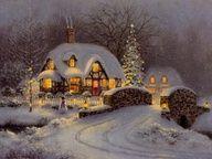 Thomas Kinkade Christmas Cottage - I've Always Loved This Picture! Christmas Scenes, Christmas Past, Country Christmas, Christmas Pictures, Winter Christmas, Cottage Christmas, Christmas Prayer, Swedish Christmas, Christmas Fireplace