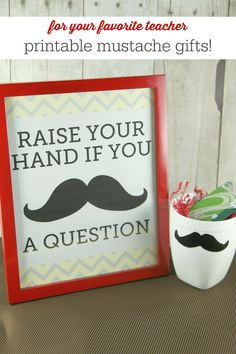 Mustache Mugs & Free Mustache Printables from MomAdvice.com- a fantastic teacher gift!