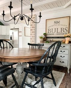Dining Area, Dining Chairs, Dining Room, Flea Market Decorating, Bulb Flowers, Wishbone Chair, Painted Furniture, Garden Tools, Farmhouse