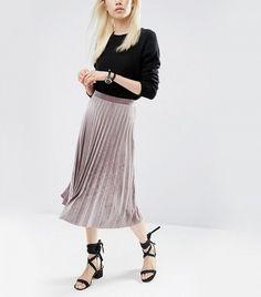 ASOS Pleated Velvet Midi Skirt