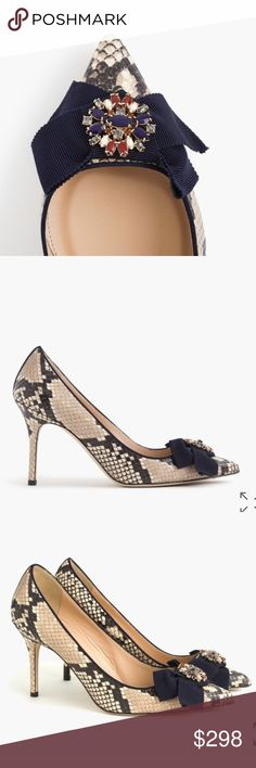 """J.Crew snakeskin printed leather pumps 3 1/2"""" heel. true to size Leather upper and lining. Man-made sole. Made in Italy. J. Crew Shoes Heels"""