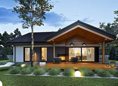 Simon III G2 energo - zdjęcie 1 Modern Bungalow House Design, Modern Bungalow Exterior, Dream House Exterior, Small House Design, Modern House Plans, Small House Plans, Modern Farmhouse Exterior, Modern Cottage Style, House Deck