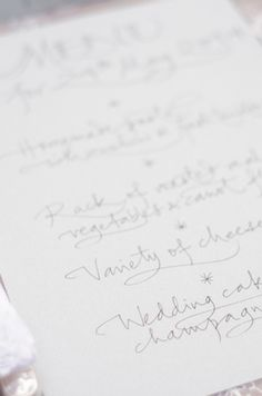 Hand written menu | Anais Stoelen Photography | see more on: http://burnettsboards.com/2014/07/romantic-wedding-editorial-tuscan-villa/