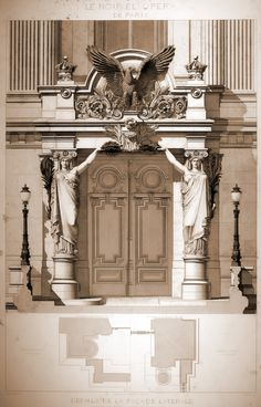 Lateral entrance to Garnier's Opera House, Paris
