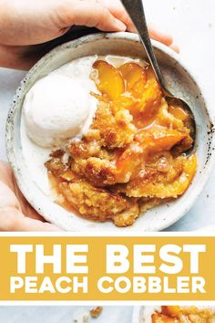 Best Peach Cobbler! I have tried so many peach cobbler recipes and this is by far my favorite! best summer dessert ever! made with fresh peaches, sugar, and a topping that bakes like slightly underbaked cookie dough, with crunchy sugar broiled on top. #peach #peachcobbler #summerdessert Köstliche Desserts, Delicious Desserts, Dessert Recipes, Beste Desserts, Best Peach Cobbler, Homemade Peach Cobbler, Best Summer Desserts, Cobbler Topping, Good Food
