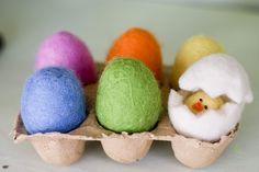 Felted wool eggs