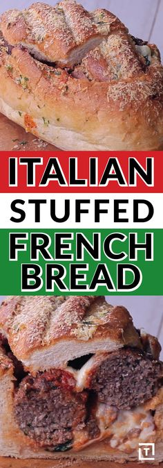 Amp up your meatball sub with Twisted's Italian stuffed French bread. Stuff your loaf with meatballs and layer on mozzarella, basil, parmesan, and marinara. Brush the whole thing in homemade garlic bu (Stuffed Breaded Chicken) Bread Recipes, Crockpot Recipes, Cooking Recipes, Healthy Recipes, Breaded Chicken, Butter Chicken, Homemade Garlic Butter, Bread Recipe Video, Parmesan Meatballs