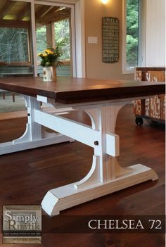 Handmade Double Pedestal Farmhouse Dining Table. The Chelsea 72 With An  American Walnut Stained Top