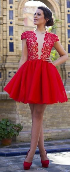 Silvia Navarro Red Lace New Collection Dress