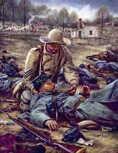 "Nathan Greene For I Was Thirsty ""I Was Thirsty"" depicts the true story of Confederate Sergeant Richard Kirkland during the Civil War battle of Fredricksburg. After a fierce battle on Dec the scene shif Military Art, Military History, American Civil War, American History, Battle Of Fredericksburg, Civil War Art, Civil War Photos, Historical Art, Le Far West"
