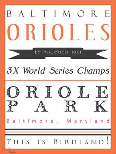 Baltimore Orioles Baseball Typographic Subway by KayBeeStudios, $12.00