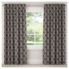 "Blackout Damask Curtain Panel Black (50""x120"")"