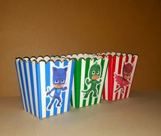12 PJ Masks Popcorn Boxes - Inspired by PJ Masks - Party Favor boxes