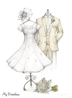 Sketch of Wedding Dress & Suit. Paper Anniversary Gifts For Her, Wedding…