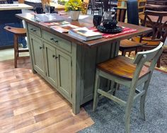 Amish Ancient Mission Kitchen Island with Two Drawers and Three Doors - New Ideas Kitchen Island With Seating, Diy Kitchen Island, Rustic Kitchen, Kitchen Decor, Kitchen Tables, Kitchen Paint, Black Kitchen Cabinets, Black Kitchens, Diy Kitchens