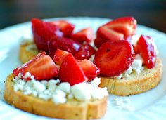 Strawberries + Cheese on Bread? Sounds like a fantastic lunch to me!