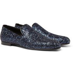 Jimmy Choo- Sloane Glitter-Appliquéd Evening Slippers