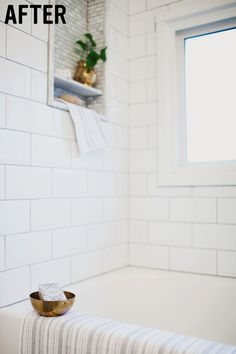 bathroom-renovation, white-tile-style-design-subway-tile-tub, and built in shelf to the shower wall