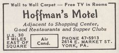 Advertisement for Hoffman's Motel in York, PA from a 1959 Colonial Visitor booklet. York Hotels, York Pa, Supper Club, Wall Carpet, Motel, Booklet, Ephemera, Colonial, Restaurant