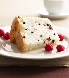 This heavenly angel food cake recipe with mini chocolate chips is the perfect guilt-free indulgence with only two grams of fat per serving. Serve with your favorite toppings like chocolate syrup or fresh strawberries and raspberries.