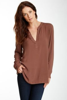 Cloth & Stone Long Sleeve Collarless Top by Assorted on @HauteLook