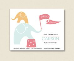 KIDS PARTY INVITATIONS  elephant silhouette circus by TutuRevue, $21.70