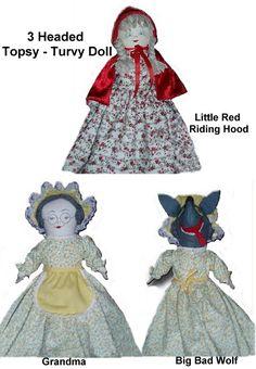 3 Headed Red Riding Hood Topsy-Turvy Doll