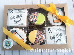 Gift box of 6 GET WELL SOON Sugar Cookies by ColorMeCookies