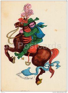 "Tikerpäe - rider - horse - 1976 - Estonia USSR - used "" Greeting Cards, Horses, Prints, Art, Art Background, Kunst, Performing Arts, Horse, Art Education Resources"