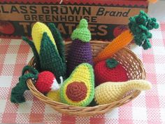 Garden Harvest Set Set of 7 by LittleFarmersMarket on Etsy Crochet Fruit, Crochet Food, Crochet Yarn, Crotchet, Play Food Set, Felt Play Food, Crafty Hobbies, Hobbies And Crafts, Dramatic Play Themes