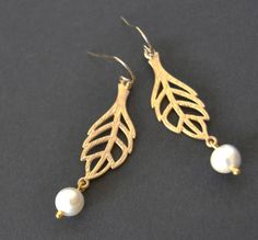 Pearls Among the Leaves Pierced or Clip Gold Leaf by Studio10102