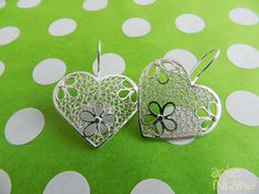 Arte Nikamu - Colección: Neguanje - Aretes - Filigree Jewelry, Heart Jewelry, Ring Necklace, Quilling, Silver Earrings, Jewlery, Women Accessories, Wire, Bling