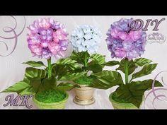 ГОРТЕНЗИЯ ИЗ ЛЕНТ. Интерьерные цветы своими руками МК/DIY - YouTube