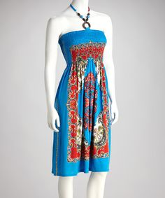 Take a look at this Blue Shirred Status Halter Dress by Meetu Magic on #zulily today!
