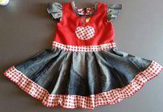 Upcycling-Kleid Kleid aus Jeans und Stoffresten mit  Applikation Apfel nähen
