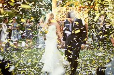 I love these confetti flickers! What an awesome way to celebrate :)    Modern Handmade Desert Wedding: Trisha + Justin