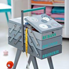 Boîte à couture en bois décapée et peinte en gris avec mots au pochoir en vert et bleu et motif de boutons