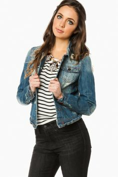 Denim Jacket, striped tank, black jeans, statement necklace. This outfit would work in Spring, Summer, and Fall!