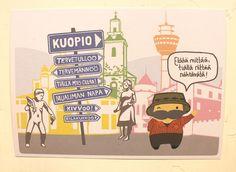 Terveiset Kuopiosta! -postikortti, nähtävyydet | Mailandia Names, Comics, Comic Book, Cartoons, Comic Books, Graphic Novels