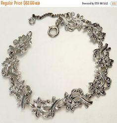 ❘❘❙❙❚❚ ON SALE ❚❚❙❙❘❘   Art Nouveau Sterling Silver Marcasite Bracelet Elegant Vintage Sterling Silver Art Nouveau Flower Links Each Flower Adorned With