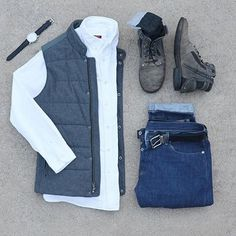 Follow @inisikpe for daily style/advice #suitgrid to be featured ________________________________________ #SuitGrid by @mycreativelook ________________________________________ Tap For Brands Vest/Shirt: @bananarepublic Denim: @jcrew Shoes: @bedstu Socks: @officialluckybrand Watch: @fossil