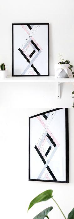 DIY geometric wall art | the lovely drawer