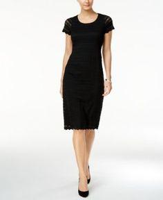 Ronni Nicole Short-Sleeve Lace Dress - Black 14